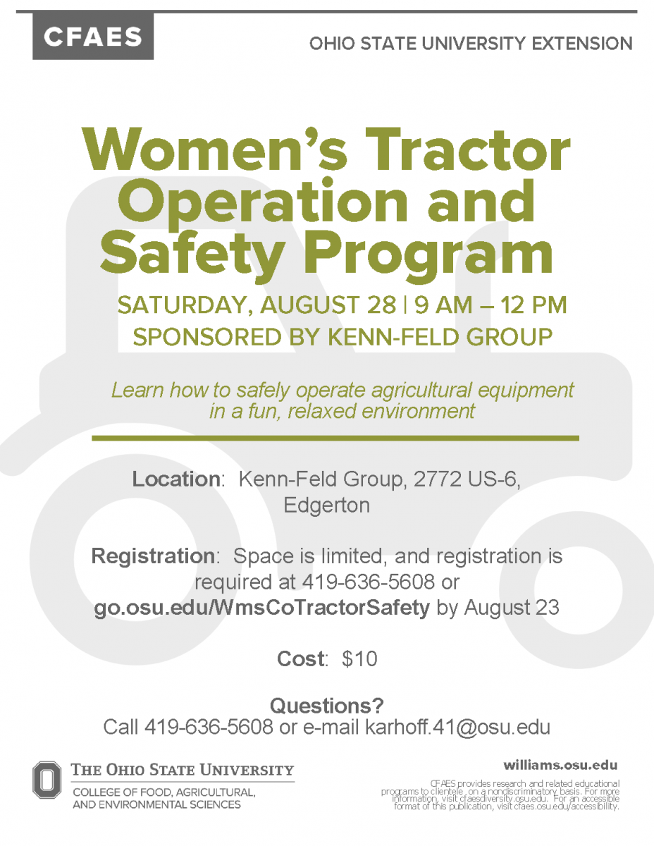 women's tractor operation and safety program event flyer